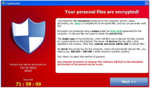 Cryptolocker ransomware screen shot